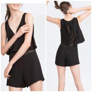 Zara black layered flowy romper with mesh underlay